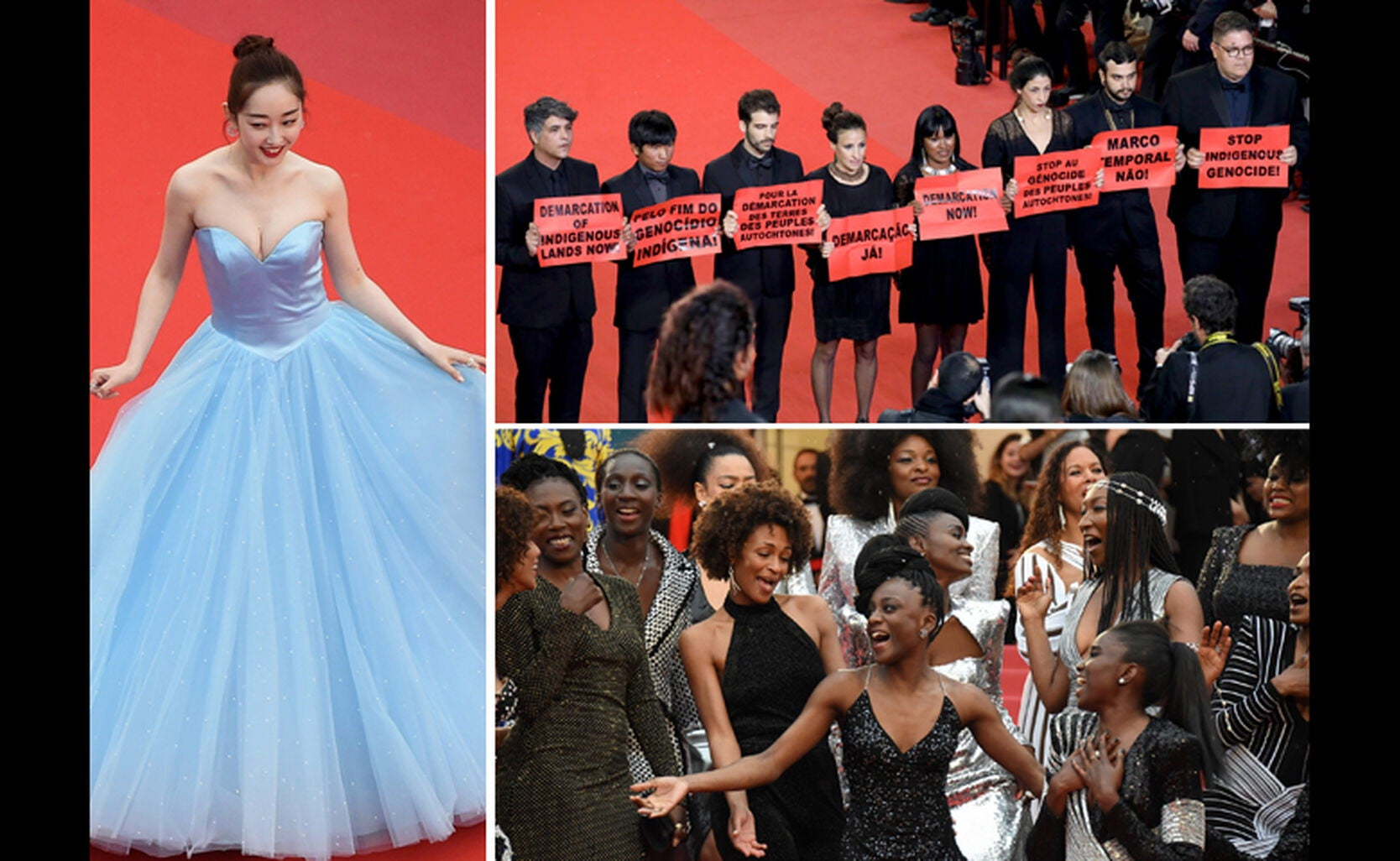 Jiang Mengiie, Protesters and authors at Cannes 2018