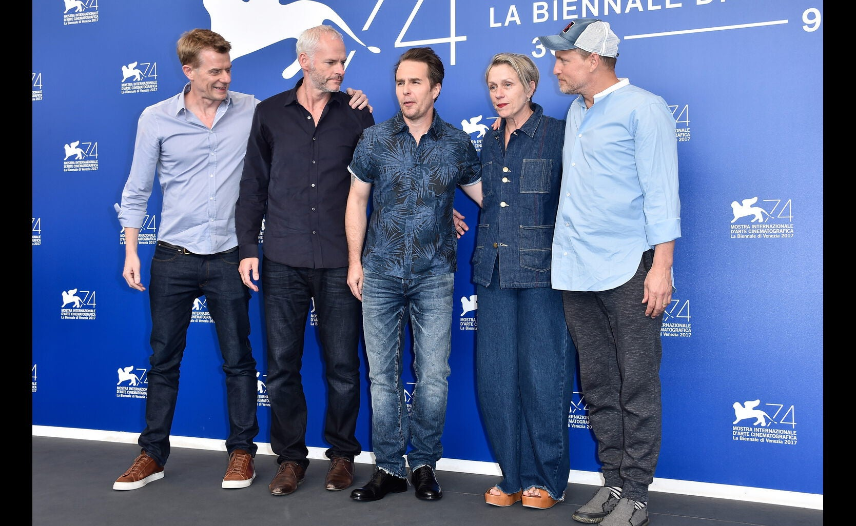 (L-R) Graham Broadbent, Martin McDonagh, Sam Rockwell, Frances McDormand and Woody Harrelson