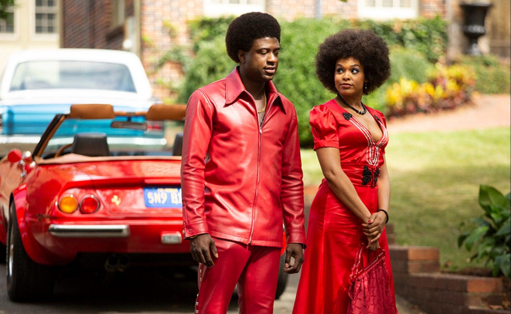 "Sinqua Walls as Don Cornelius and Demetria McKinney as June Pointer in ""American Soul"""
