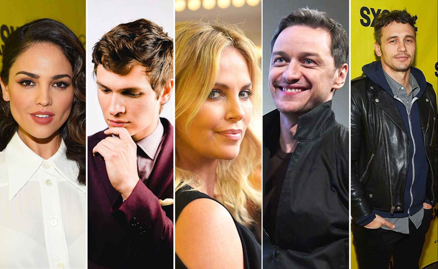 Eiza Gonzalez, Ansel Elgort, Charlize Theron, James McAvoy and James Franco