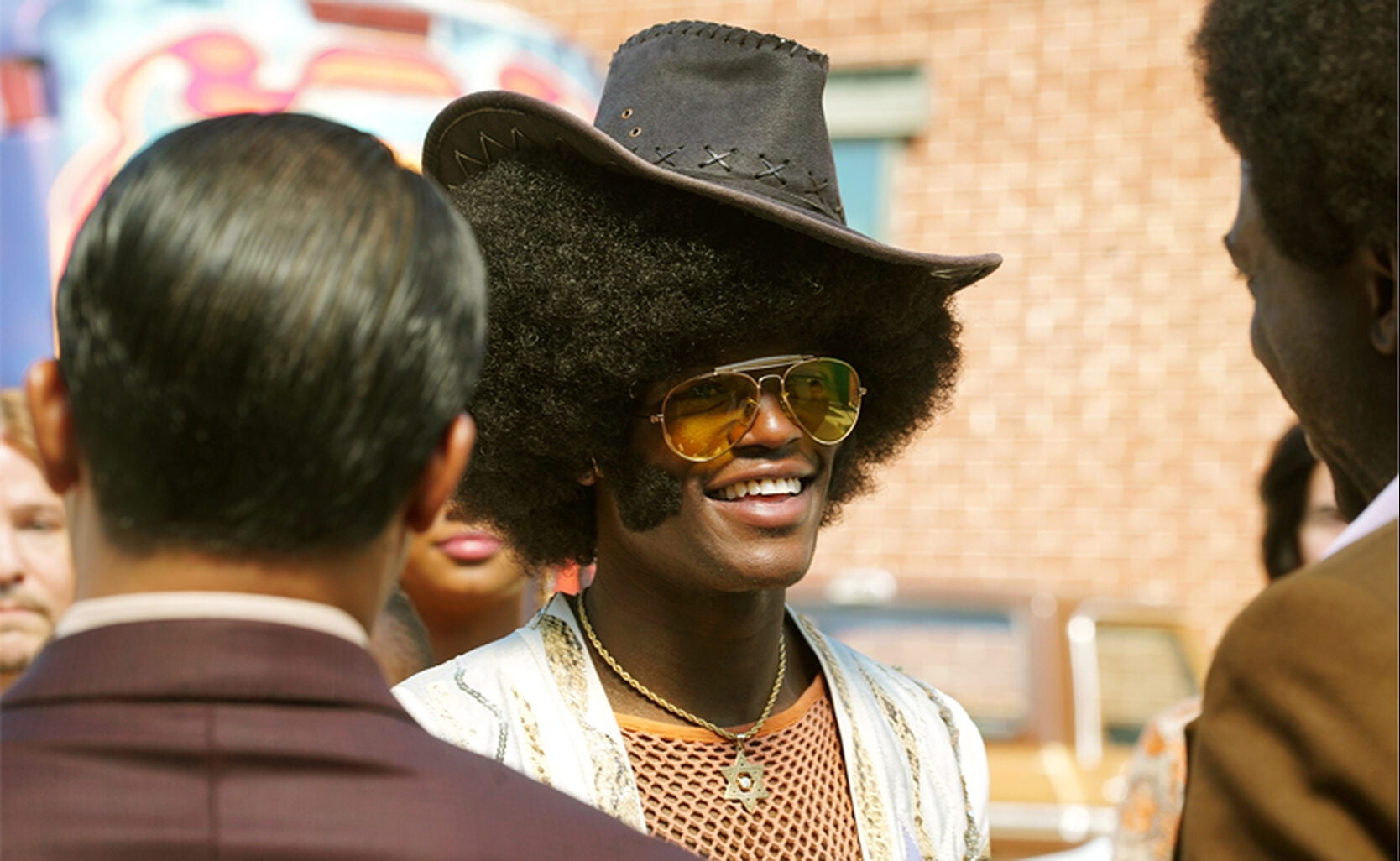 """l-r: Jason Dirden as Gerald Aims; D.C. Young Fly as Sly Stone; and Sinqua Walls as Don Cornelius in """"American Soul"""""""
