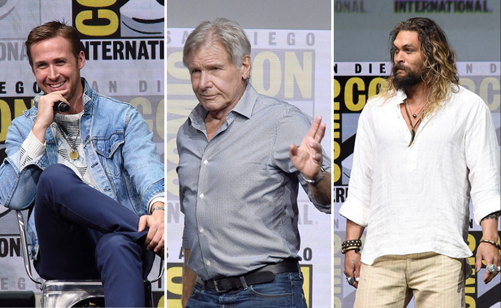 Ryan Gosling, Harrison Ford and Jason Momoa