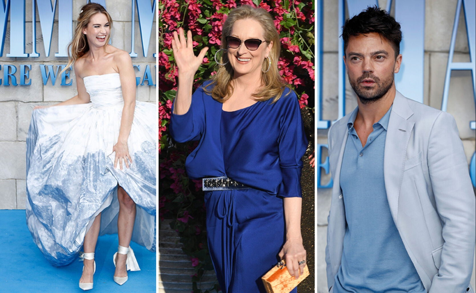 Lily James, Meryl Streep and Dominic Cooper