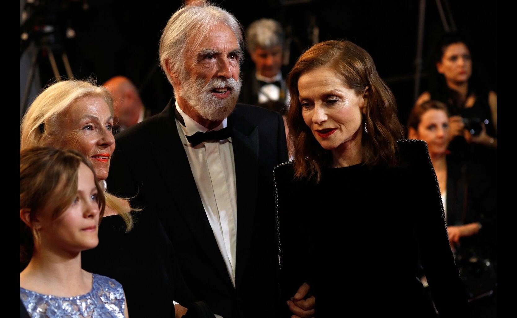 Fantine Harduin, Susi Haneke, director Michael Haneke and Isabelle Huppart