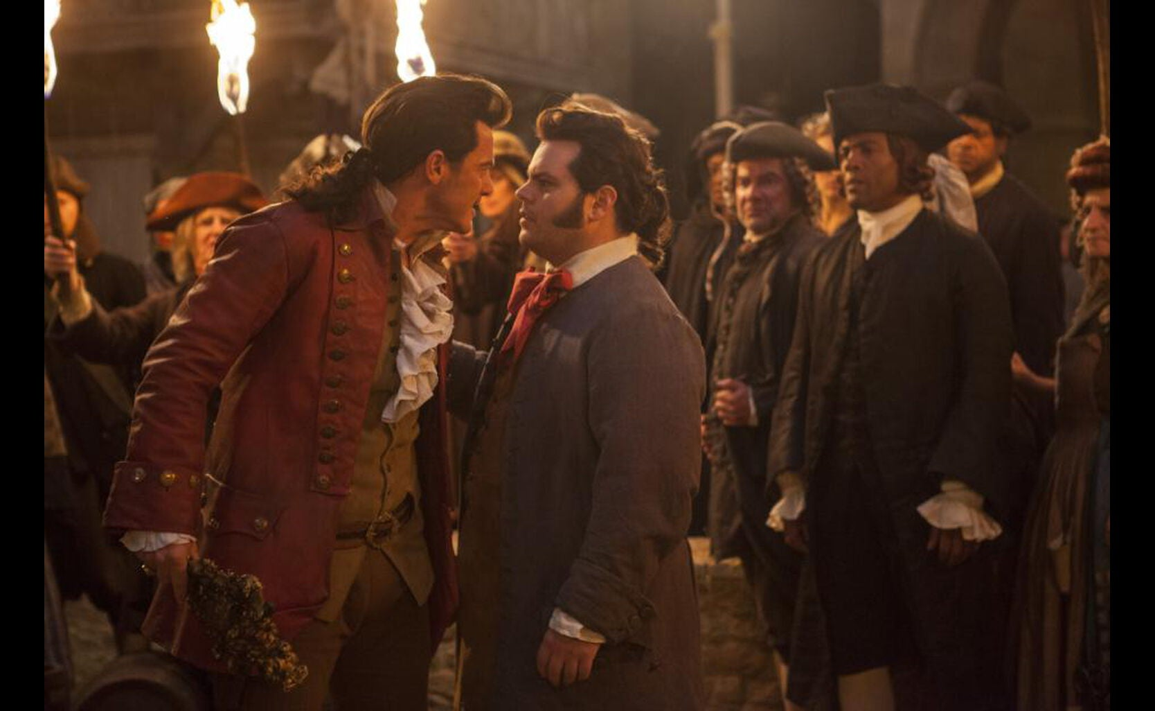 "Gaston (Luke Evans) and LeFou (Josh Gadd) in ""Beauty and the Beast"""