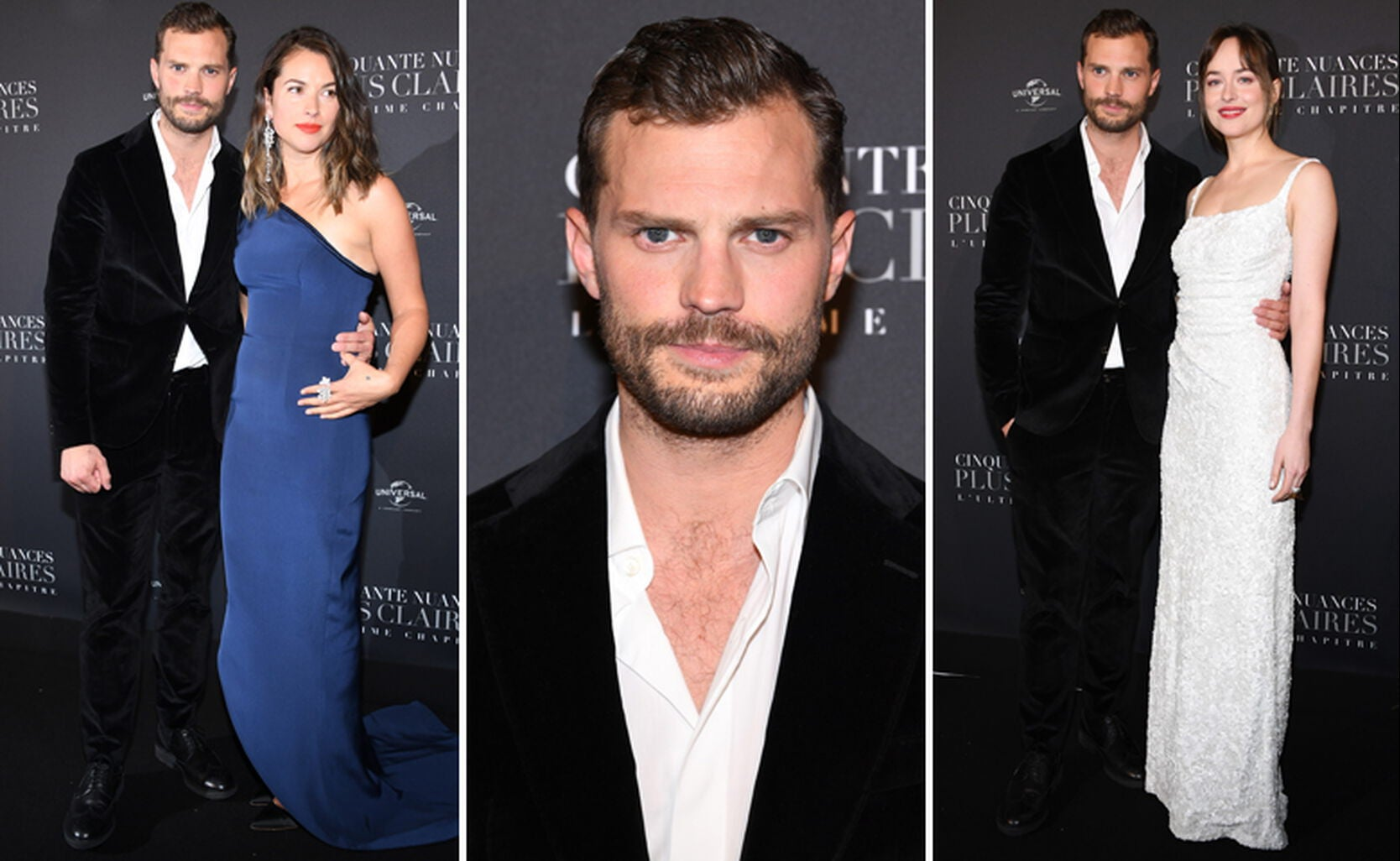 Jamie Dornan with his wife Amelia Warner, Jamie and then Jamie with Dakota Johnson