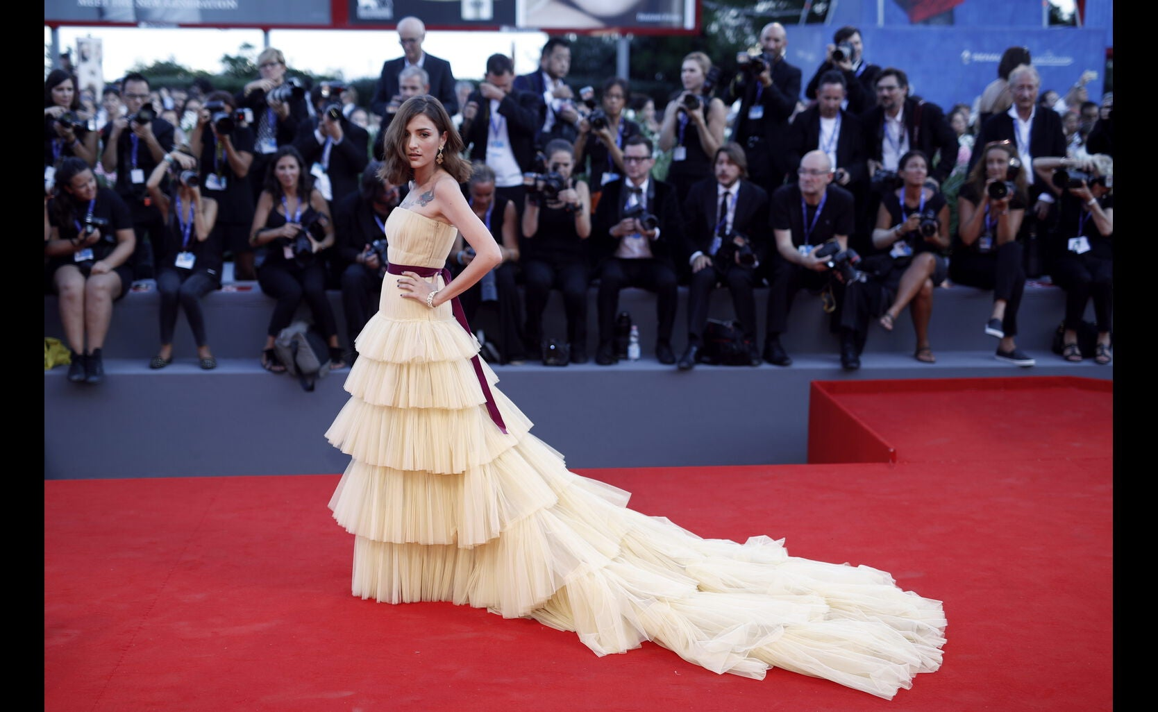 Eleonora Carisi at the premiere of The Light Between Oceans in Venice, Italy