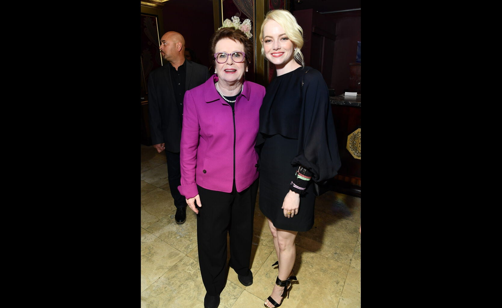 Billy Jean King and Emma Stone