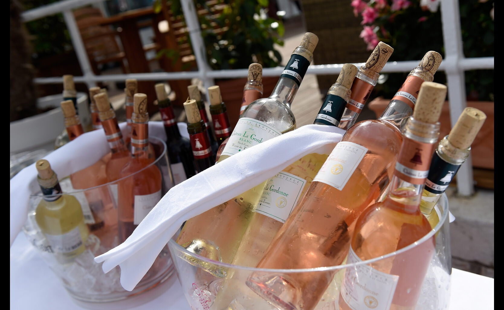 Bottles in display at the Locarno Film Festival Reception