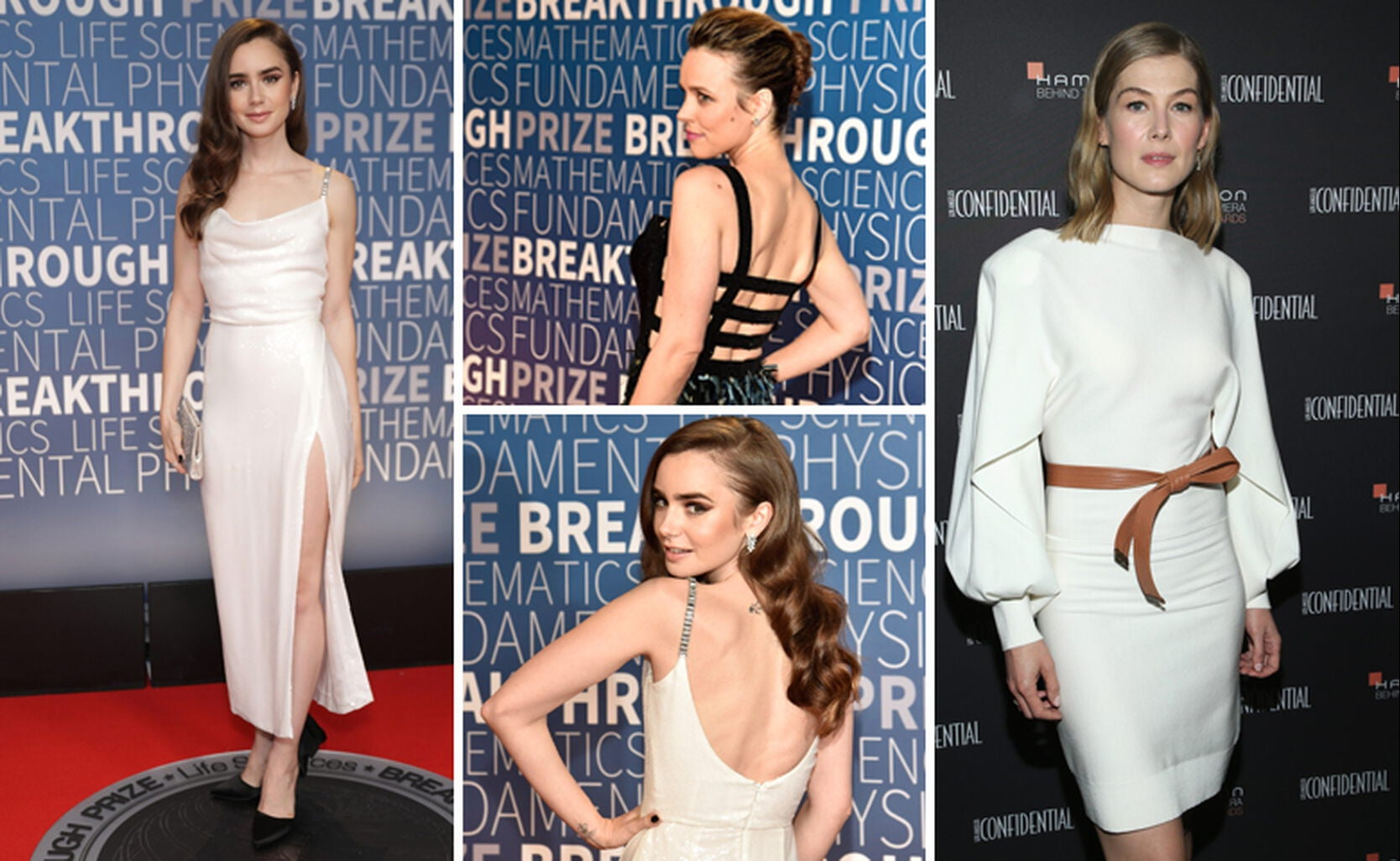 Lily Collins (left), Rachel McAdams, Lilly Collins (middle), Rosamund Pike (right)