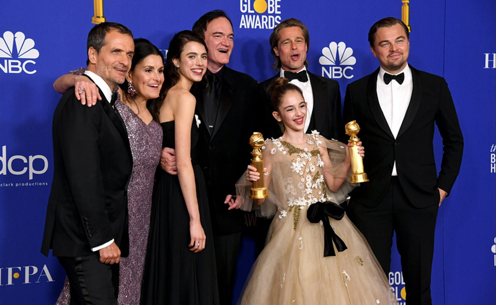 David Heyman, Shannon McIntosh, Margaret Qualley, Quentin Tarantino, Brad Pitt, Julia Butters, and Leonardo DiCaprio