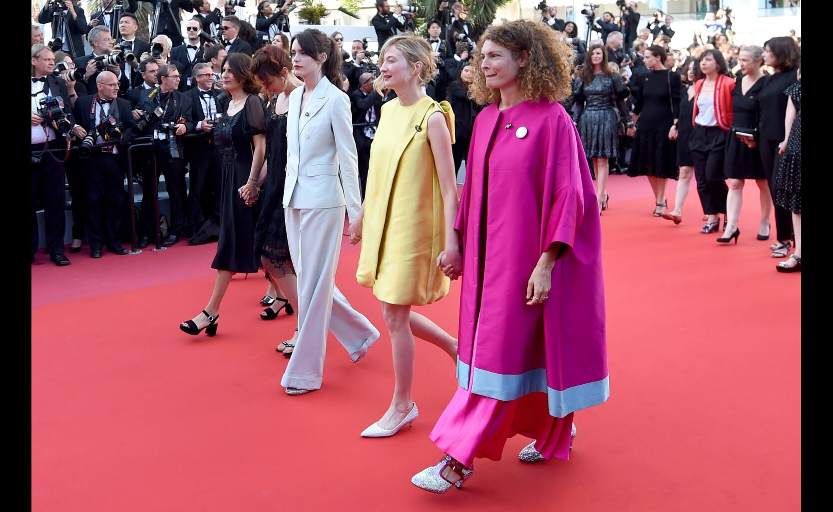 Alba Rohrwacher (2nd R) and Ginevra Elkann (R) at 71st annual Cannes Film Festival