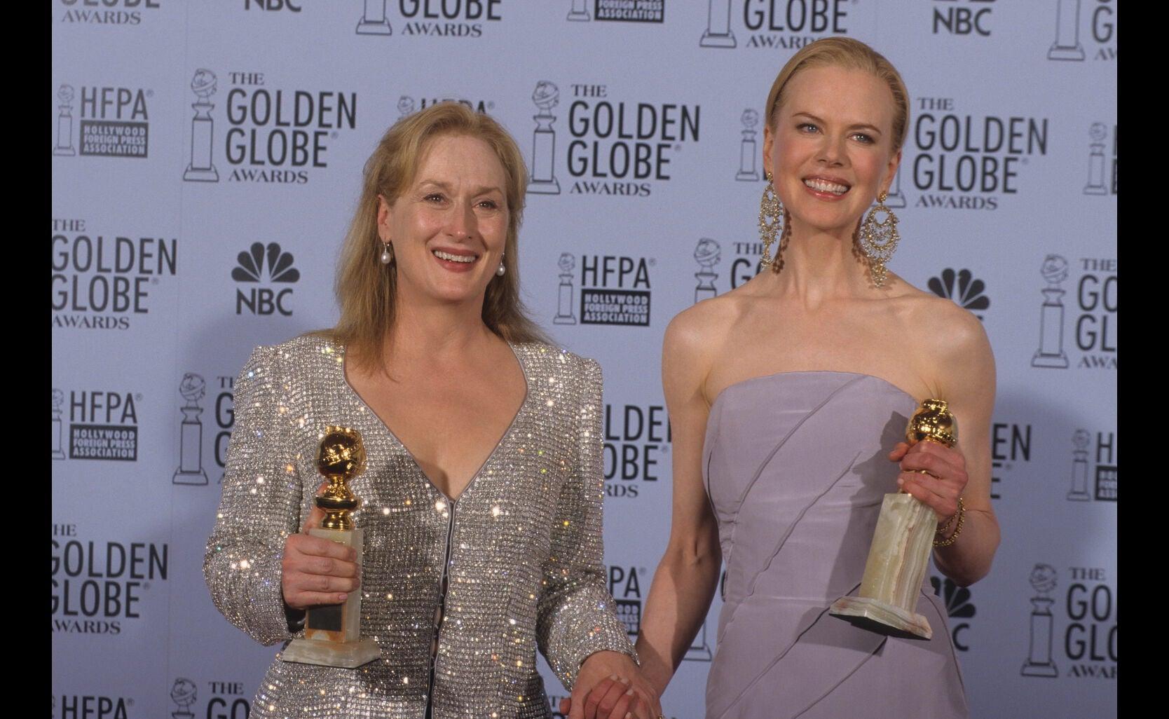 Actress Meryl Streep, Golden Globe winner, in 2003, with Nicole Kidman, Golden Globe winner