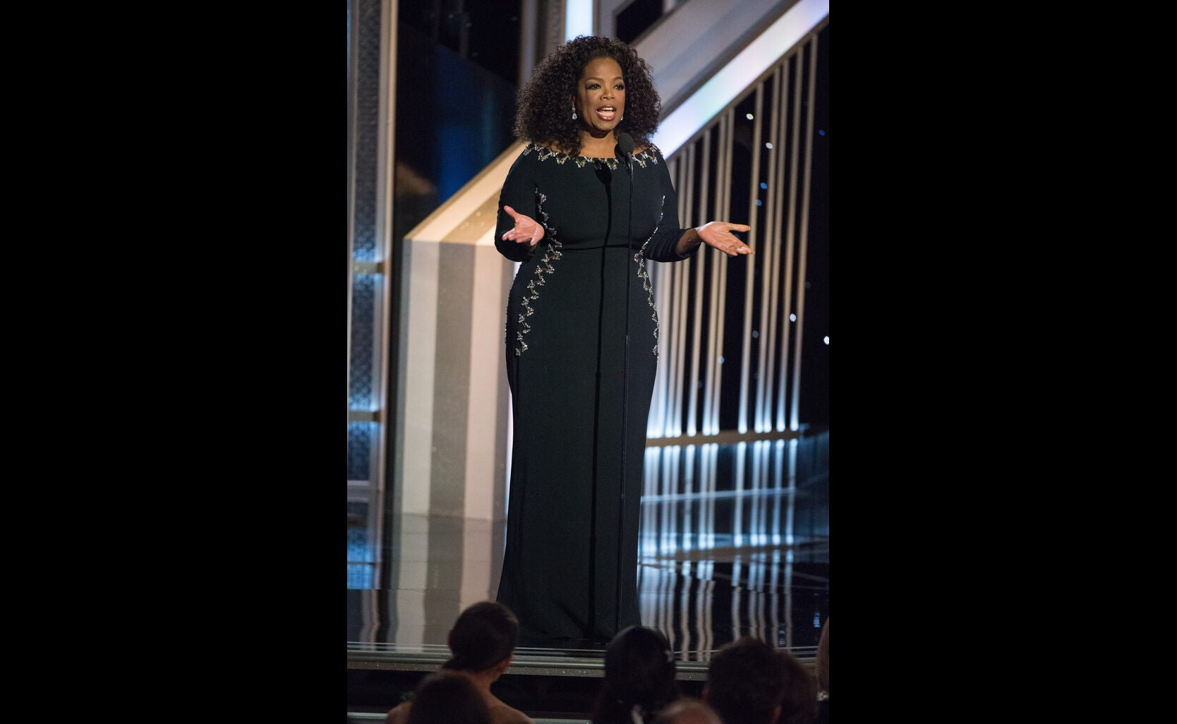 Oprah Winfrey Presnet at the 2015 Golden Globe Awards