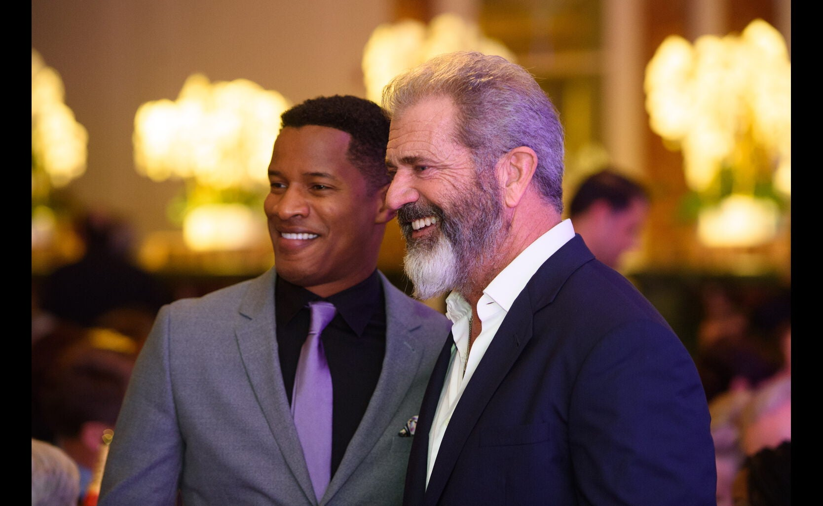 Mel Gibson and Nate Parker at the HFPA Grants Banquet 2016