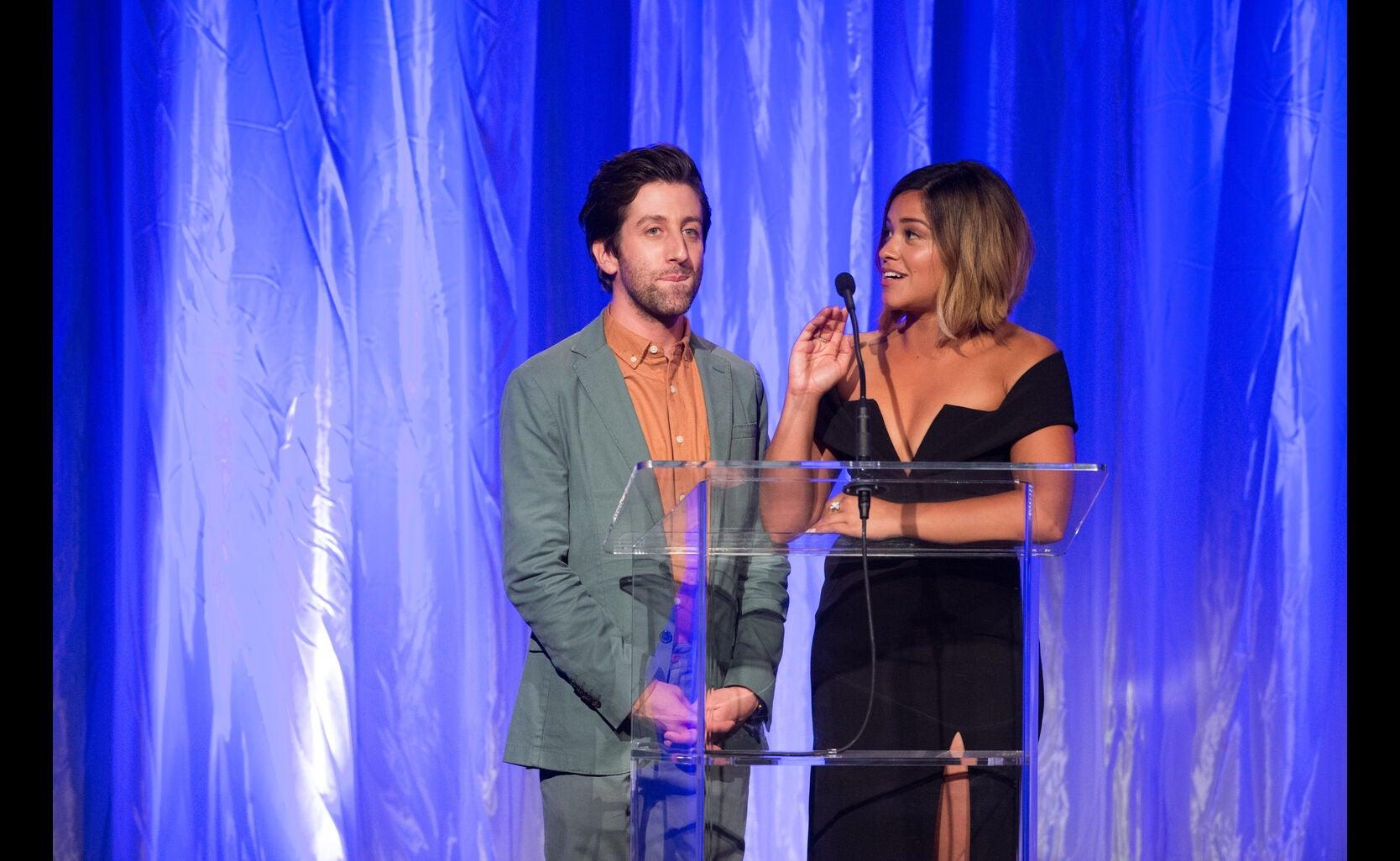 Simon Helberg and Gina Rodriguez at the HFPA Grants Banquet 2016