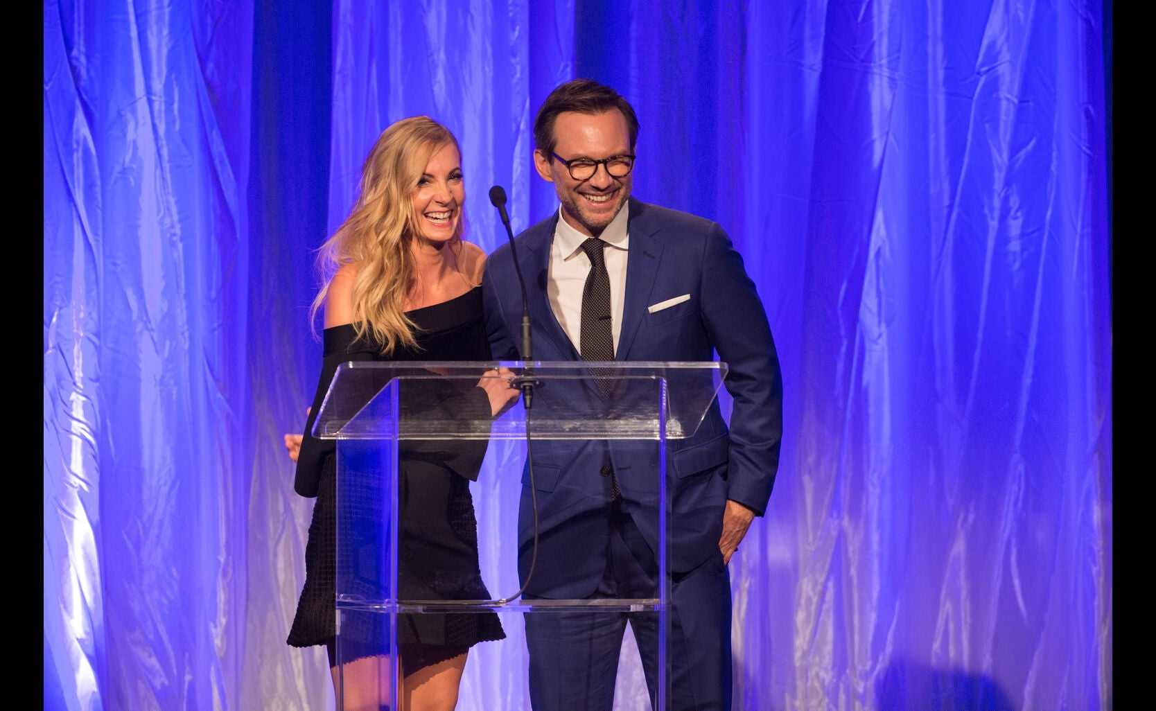 Christian Slater and Joanne Froggatt at the HFPA Grants Banquet 2016