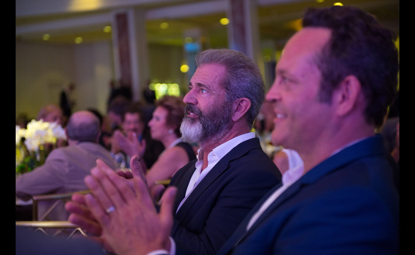 Mel Gibson and Vince Vaughn at the HFPA Grants Banquet 2016