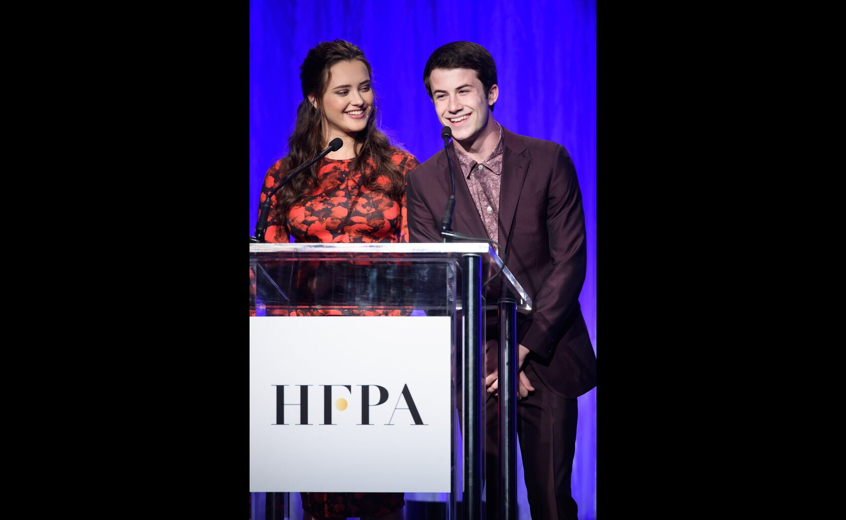 Actors Katherine Langford and Dylan Minette
