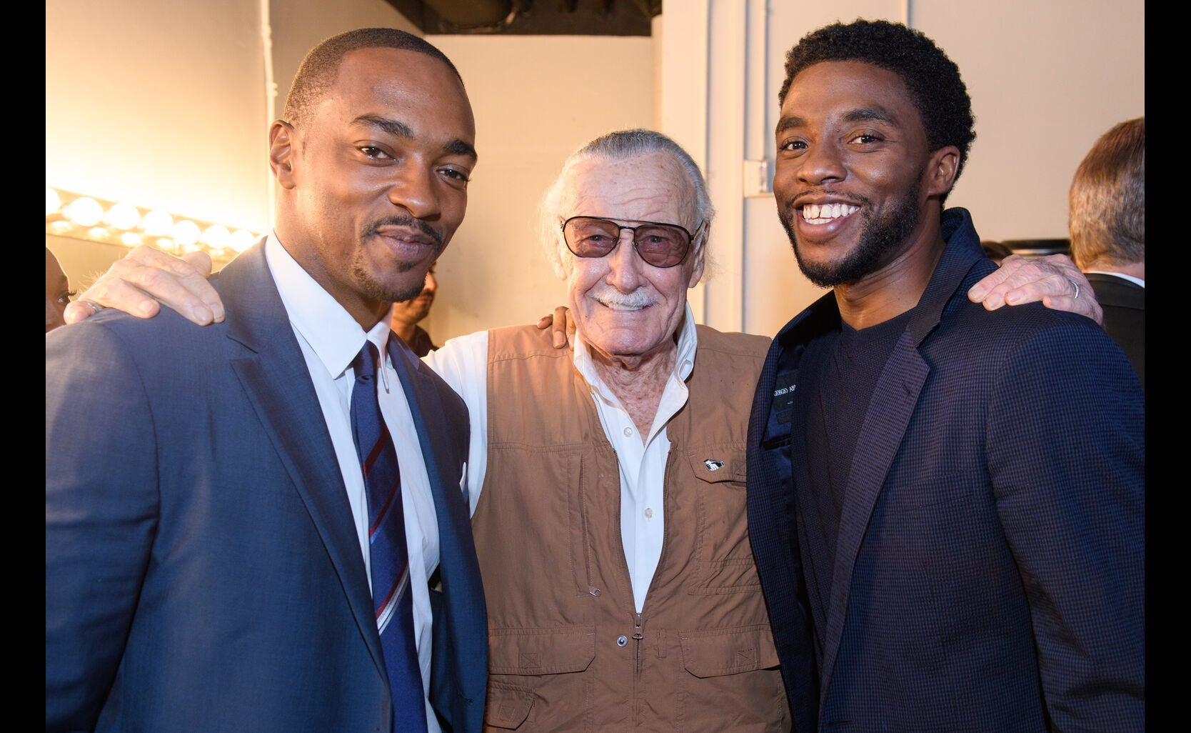 Stan Lee and actors Chadwiock Boseman and Anthony Mackie