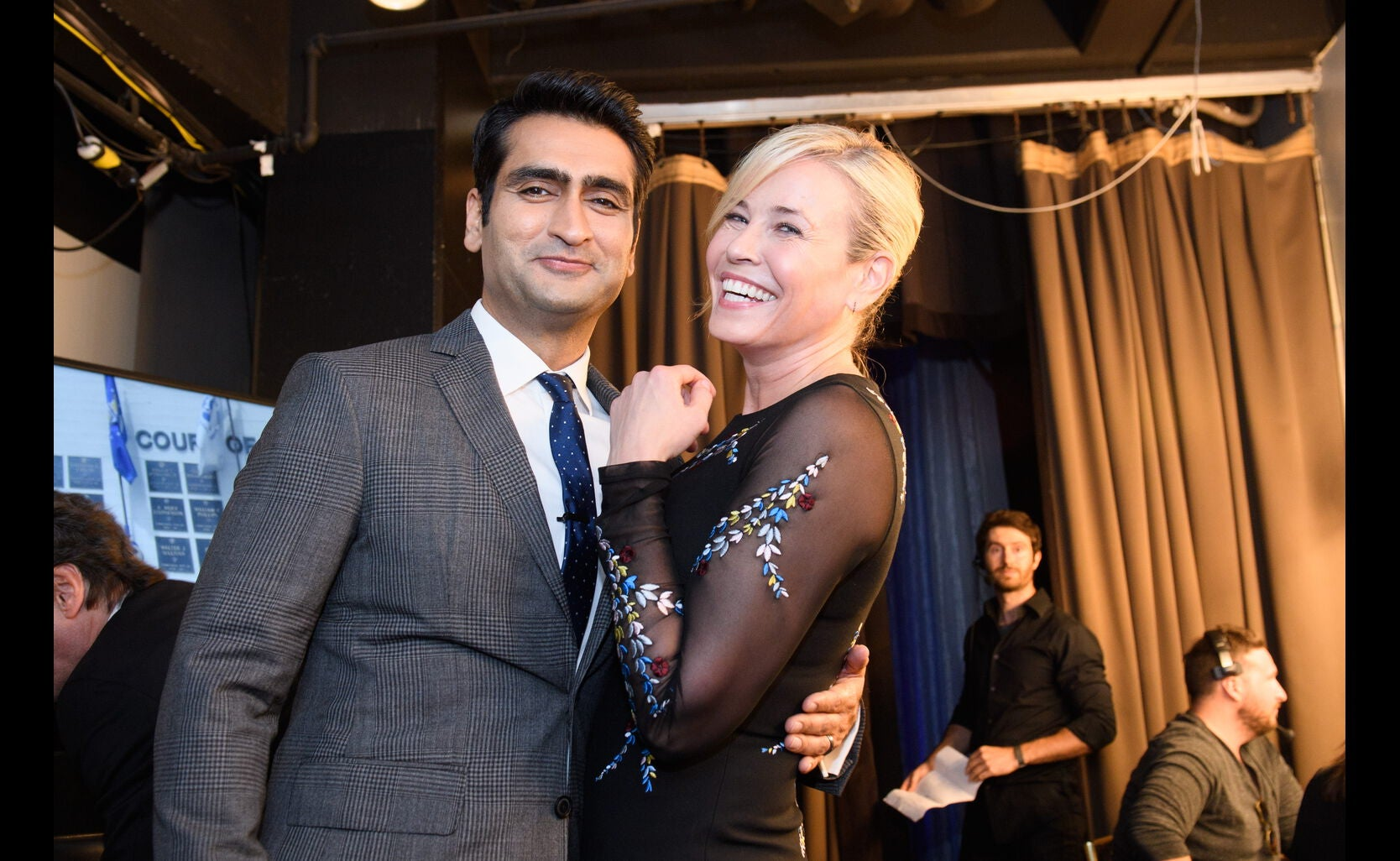 Presenter Kumail Najiani and host Chelsea Handler