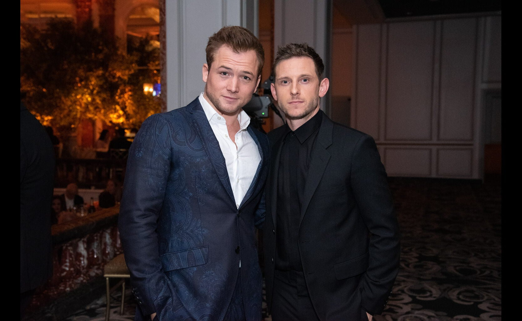 Actors Jamie Bell and Taron Egerton at the 2019 HFPA Grants banquet