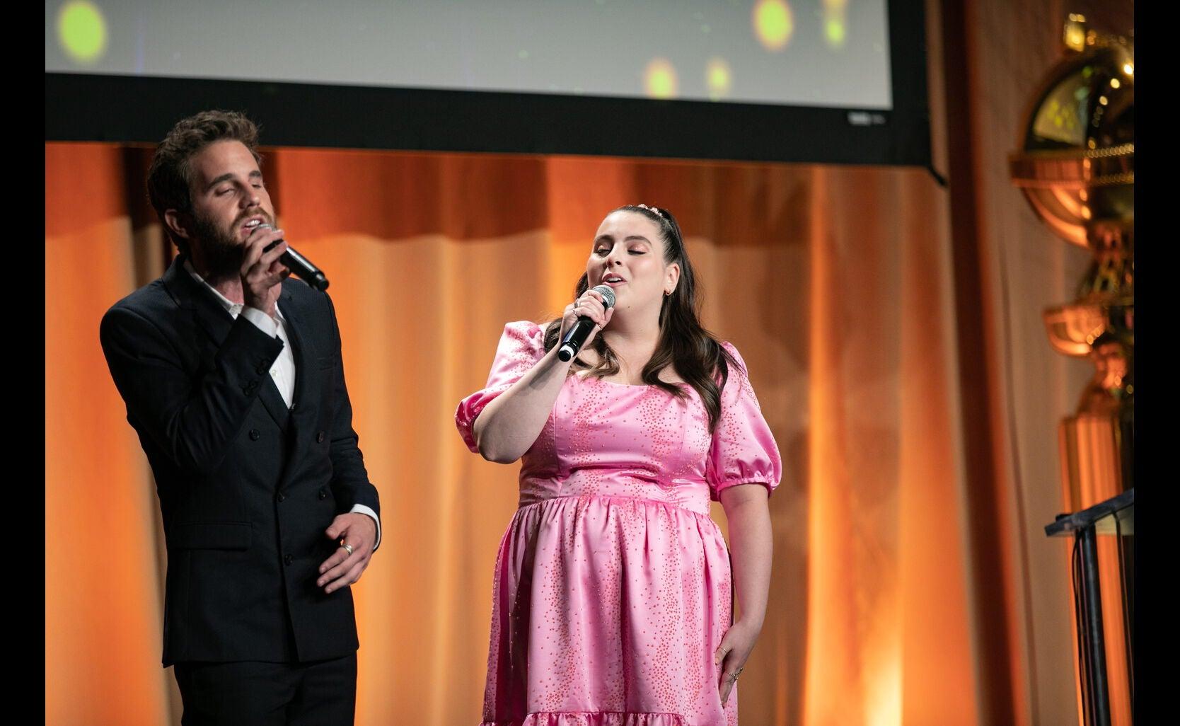 Actors Beanie Feldstein and Ben Platt