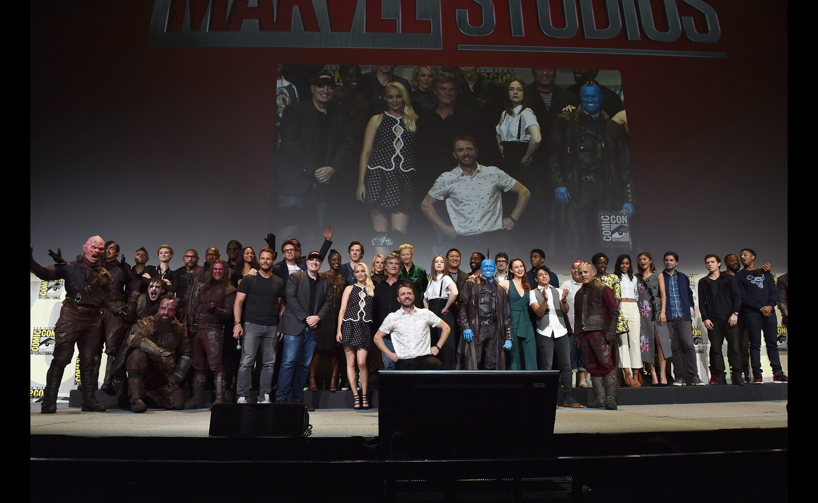 The whole Marvel team assembled on the Hall H stage, Comic-Con 2016