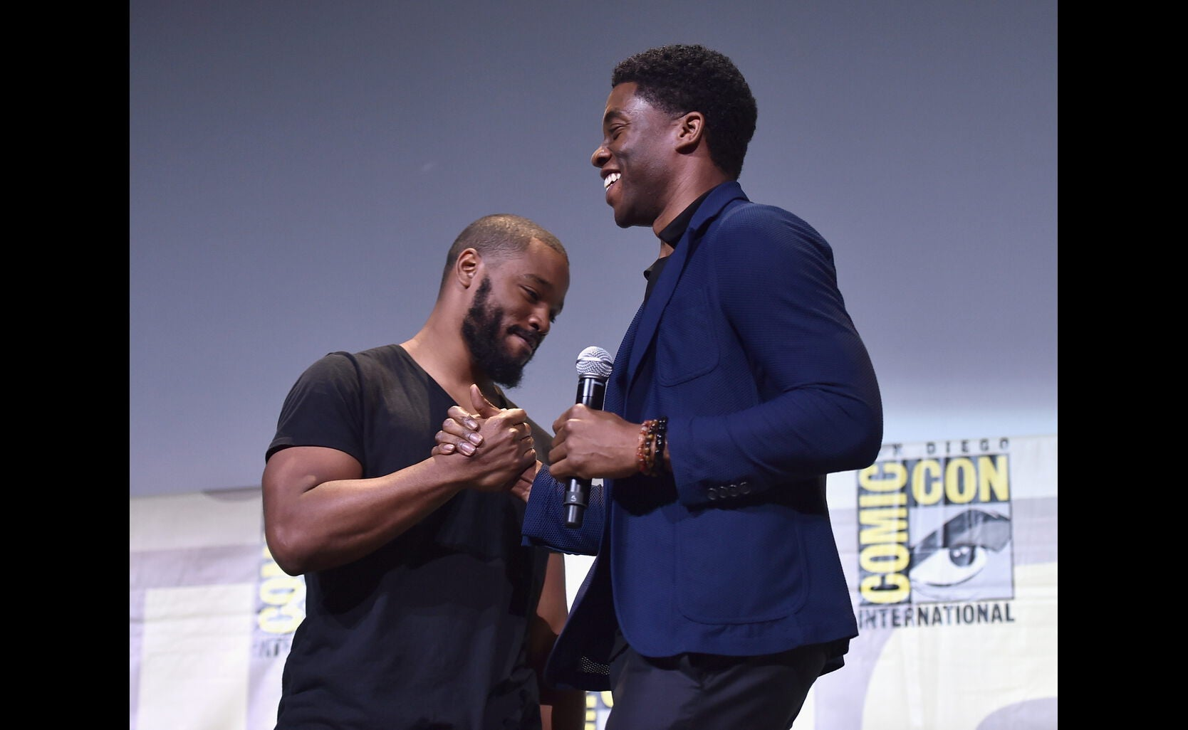 Director Ryan Coogler and actor Chadwick Boseman at the Marvel Studios presentation at Comic-Con 2016