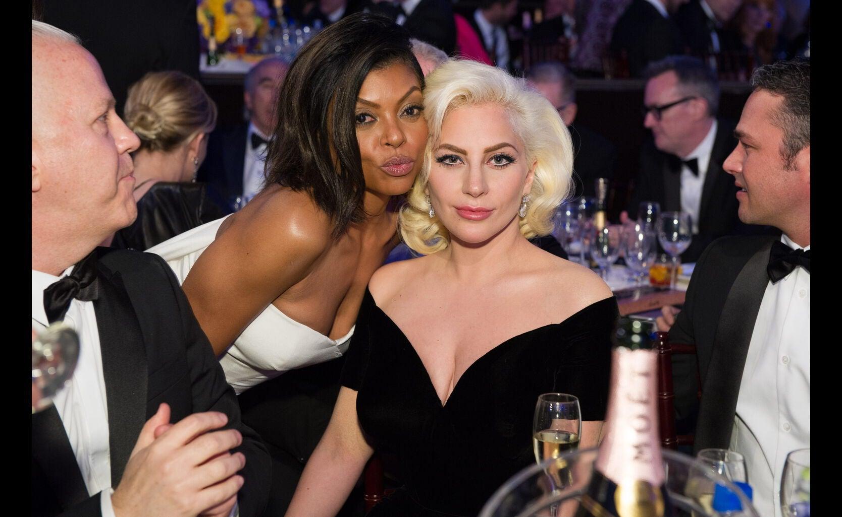 Taraji Henson and Lady Gaga at the 73rd Golden Globe Awards, January 2016