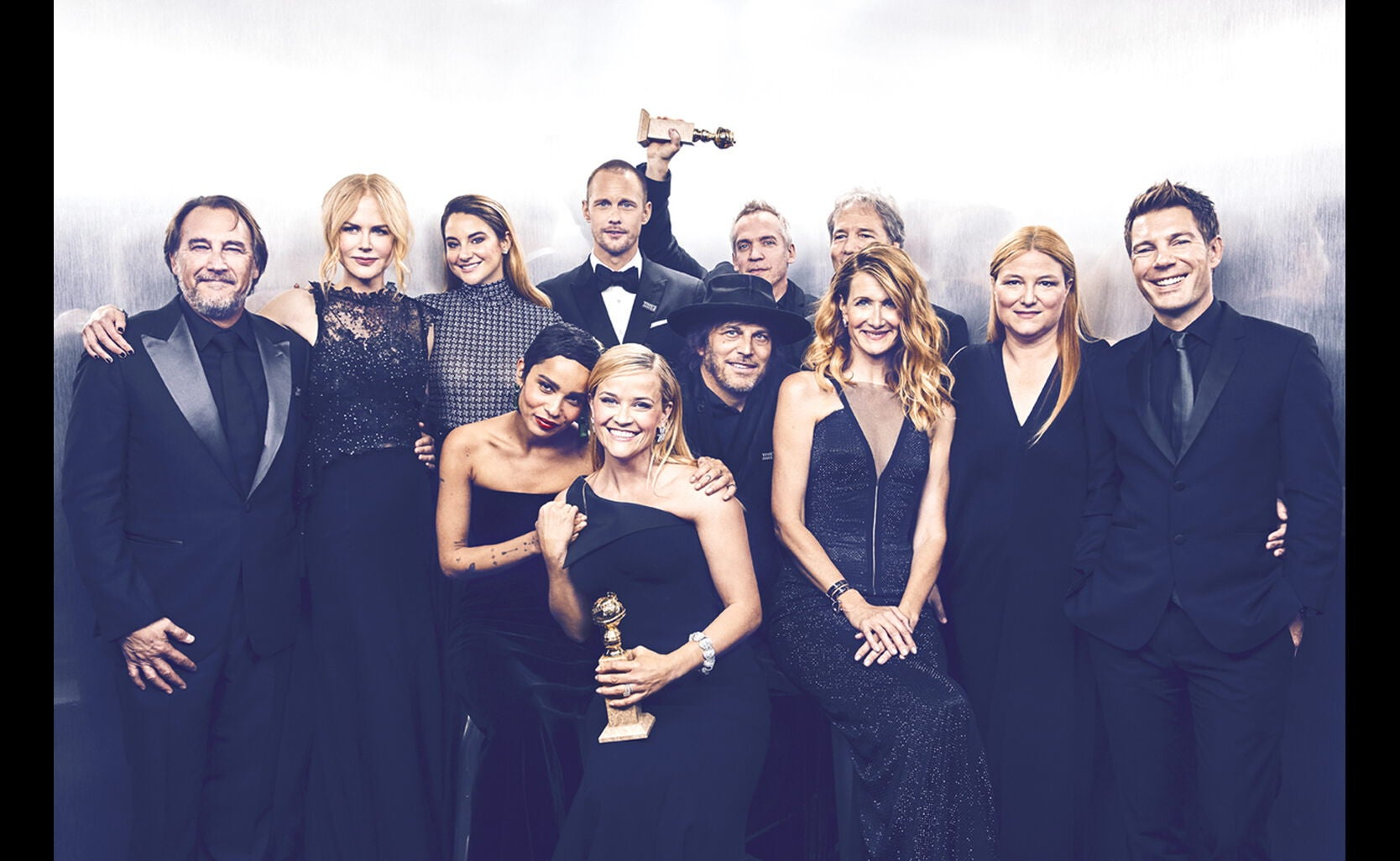 Nicole Kidman, Best Performance by Actress in a Limited Series; Laura Dern, Best Performance by an Actress, Televsision, Alexander Skarsgaard, Best Performance by an Actor, Televsion; Big Little Lies, Best Limited Series or Movie Made for Television