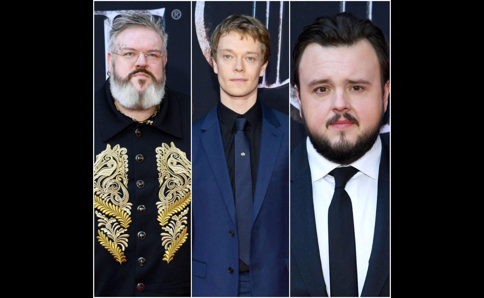 Kristian Nairn, Alfie Allen, John Bradley at the premiere of s8 of Game of Thrones