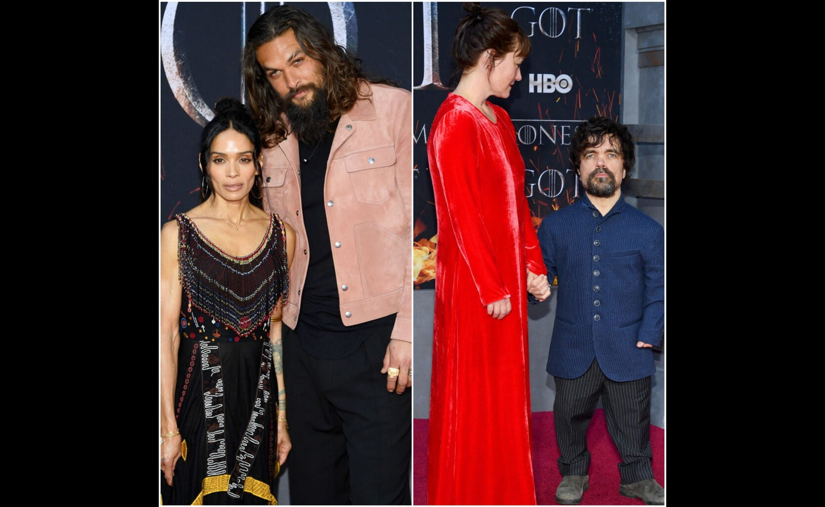 Jason Momoa and Lisa Bonet, Peter Dinklage and Erica Schmidt at the premiere of s 8 of Game of Thrones