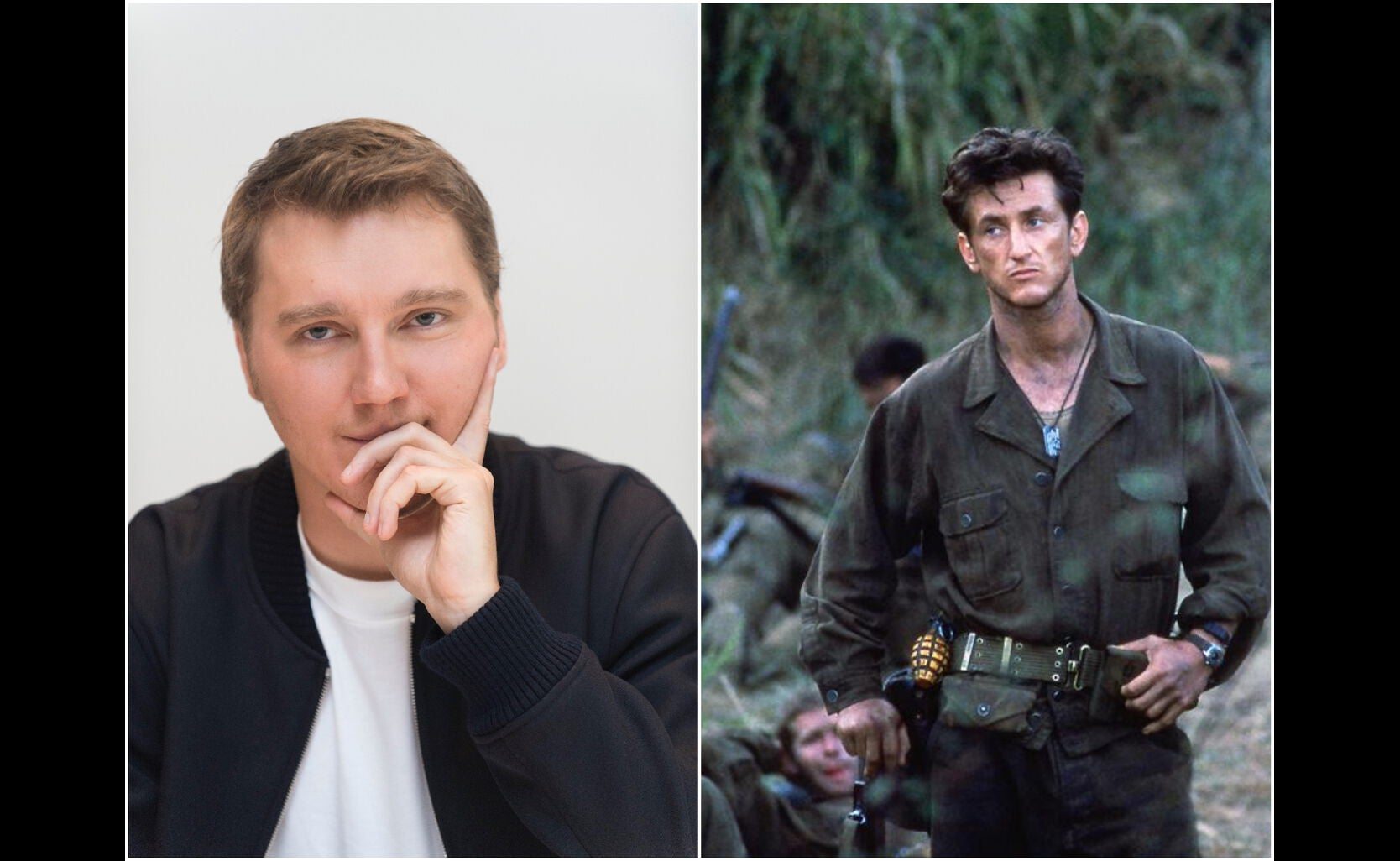 """Actor and director Paul Dano, Golden Globe nominee, and a scene from """"The Thin Red Line"""", 1998"""