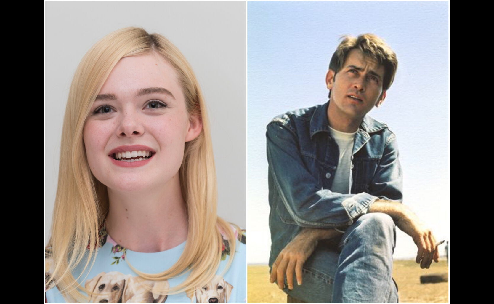 """Actress Elle Fanning and a scene from """"Badlands"""", 1973"""