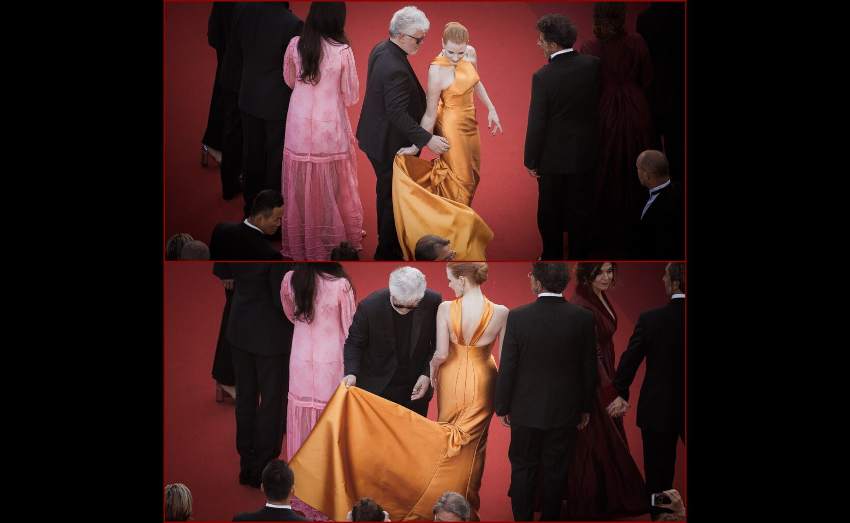 Jessica Chastain and Pedro Almodovar in Cannes 2017