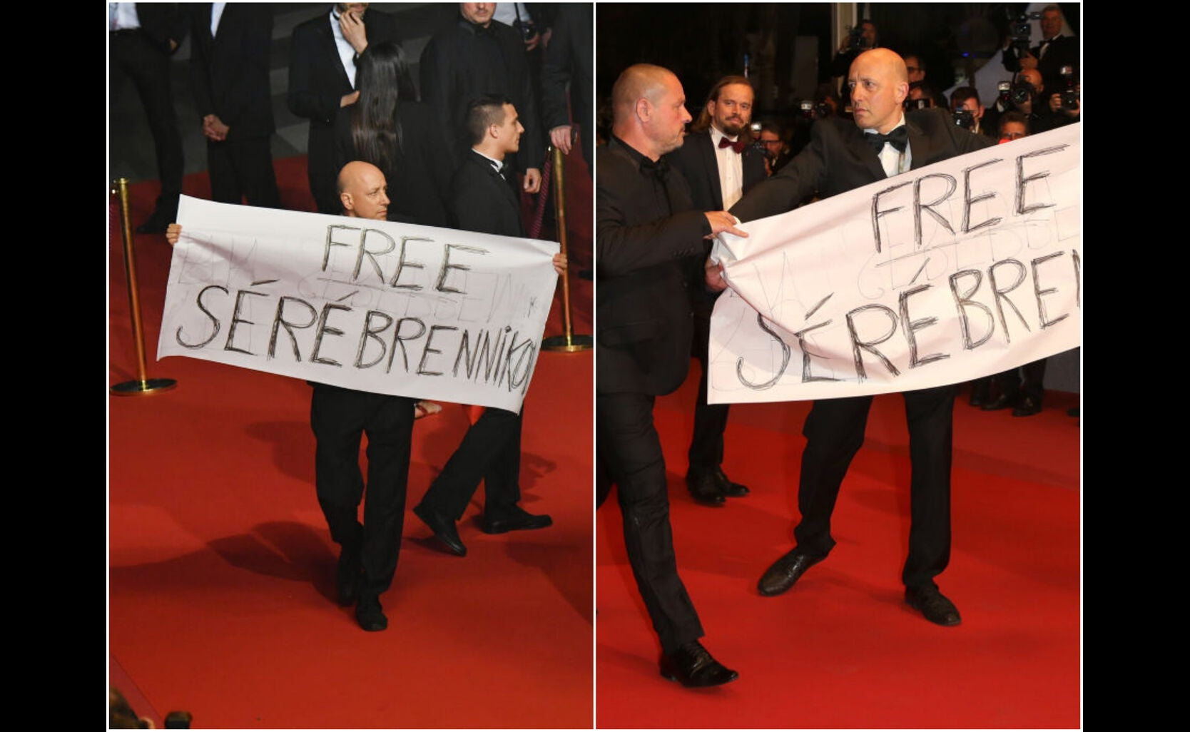 """Protest during the screening of the film """"Leto"""" at Cannes 2018"""