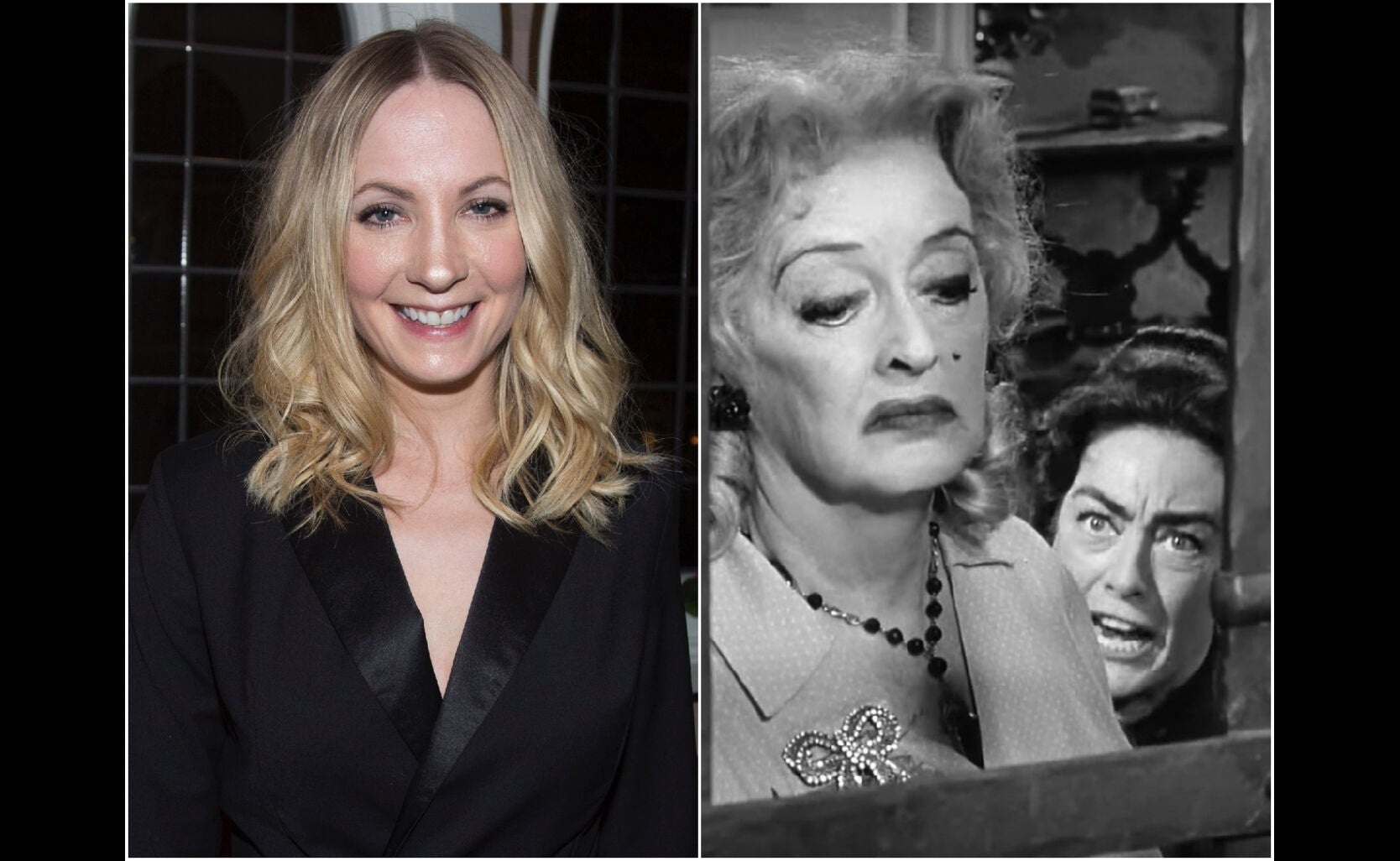 """Joanne Froggat and a scene from """"Whatever Happened to Baby Jane"""""""