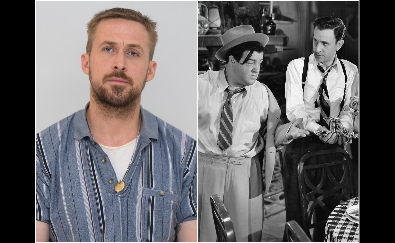 """Ryan Gosling and a scene from """"Hold That Ghost"""""""