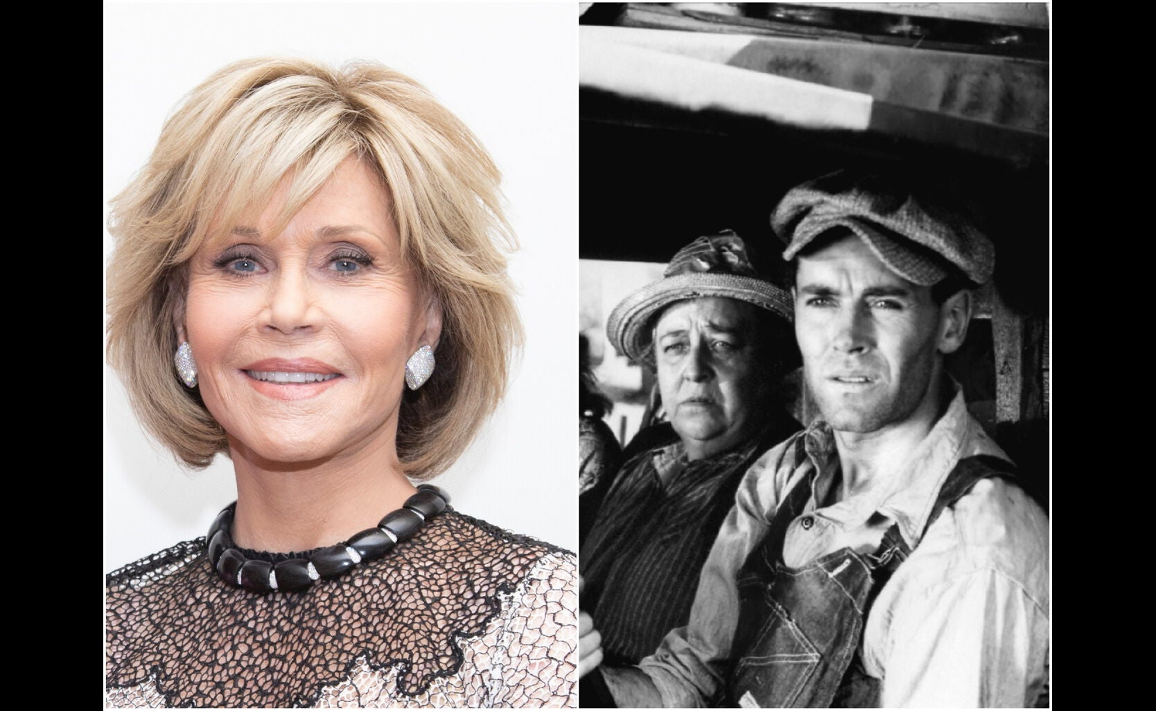 "Jane Fonda and a scene from ""The Grapes of Wrath"""
