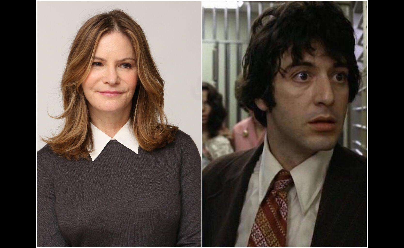 """Jennifer Jason Leigh and a scene from """"Dog Day Afternoon"""""""