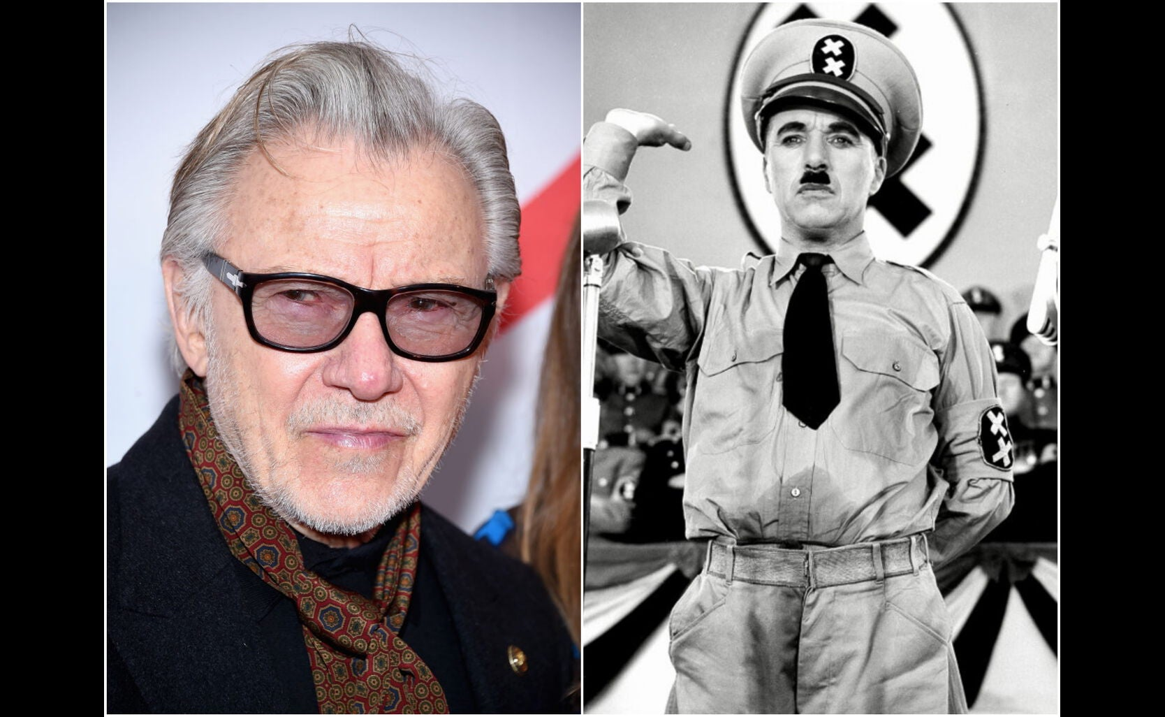 """Actor Harvey Keitel, Golden Globe nominee, and a scene from """"The Gteat Dictator, 1940"""