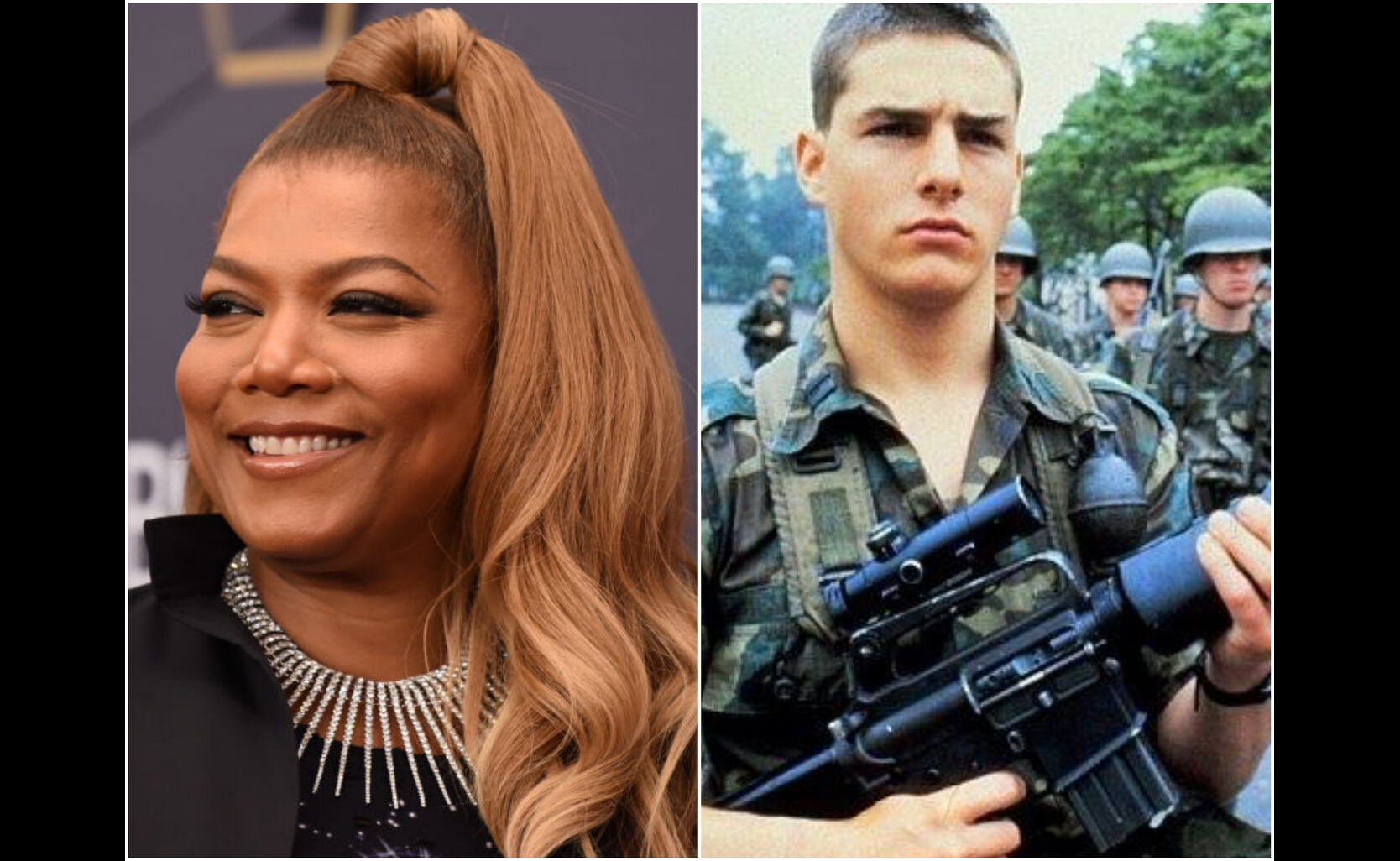 "Actress Queen Latifah, Golden Globe winner, and a scene from ""Taps"", 1981"