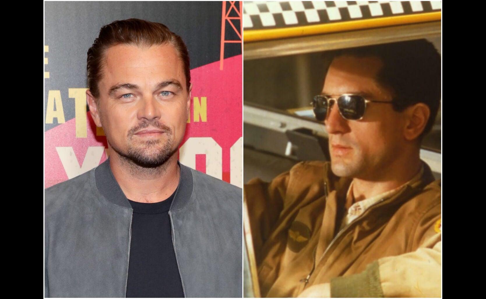 """Leonardi di Caprio and a scene from """"Taxi Driver"""""""