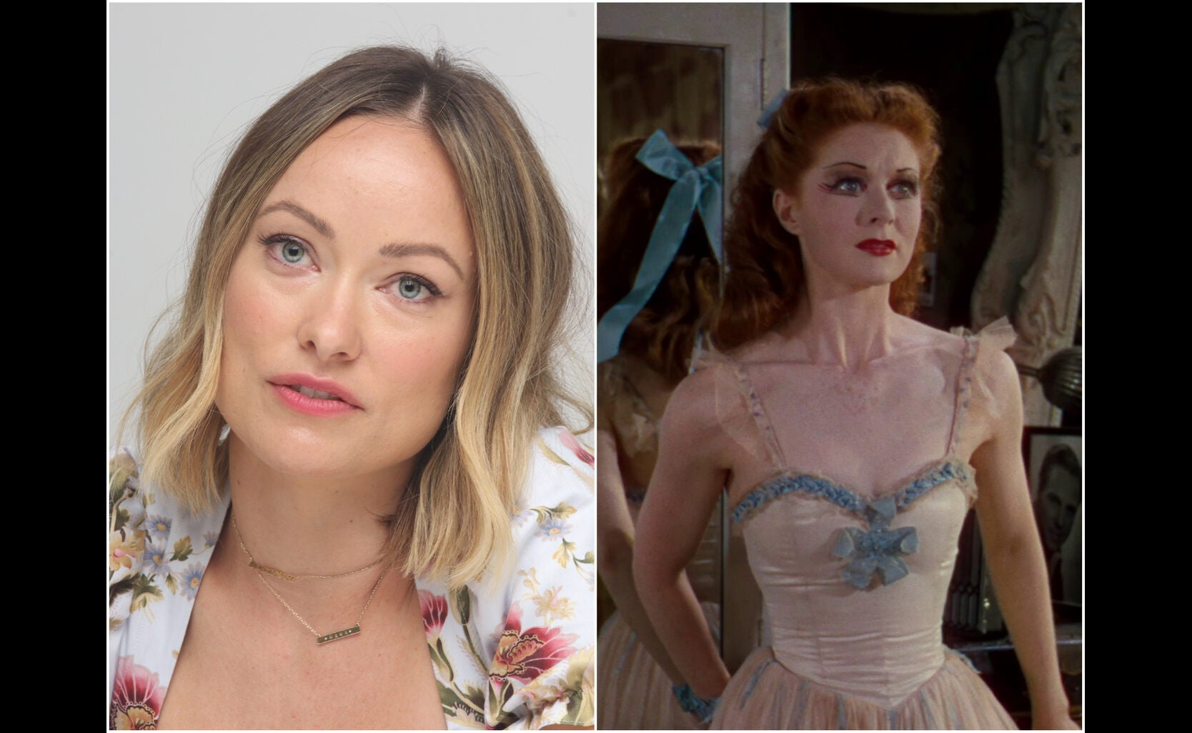 """Actress Olivia Wilde and a scene from """"The Red Shoes"""""""