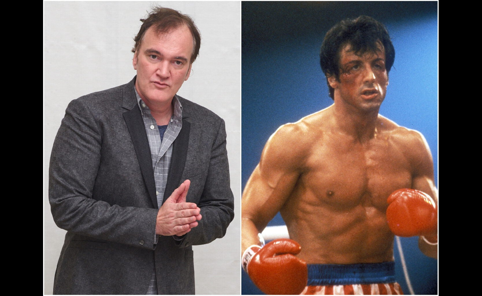 "Quentin Taratino and a scene from ""Rocky"""