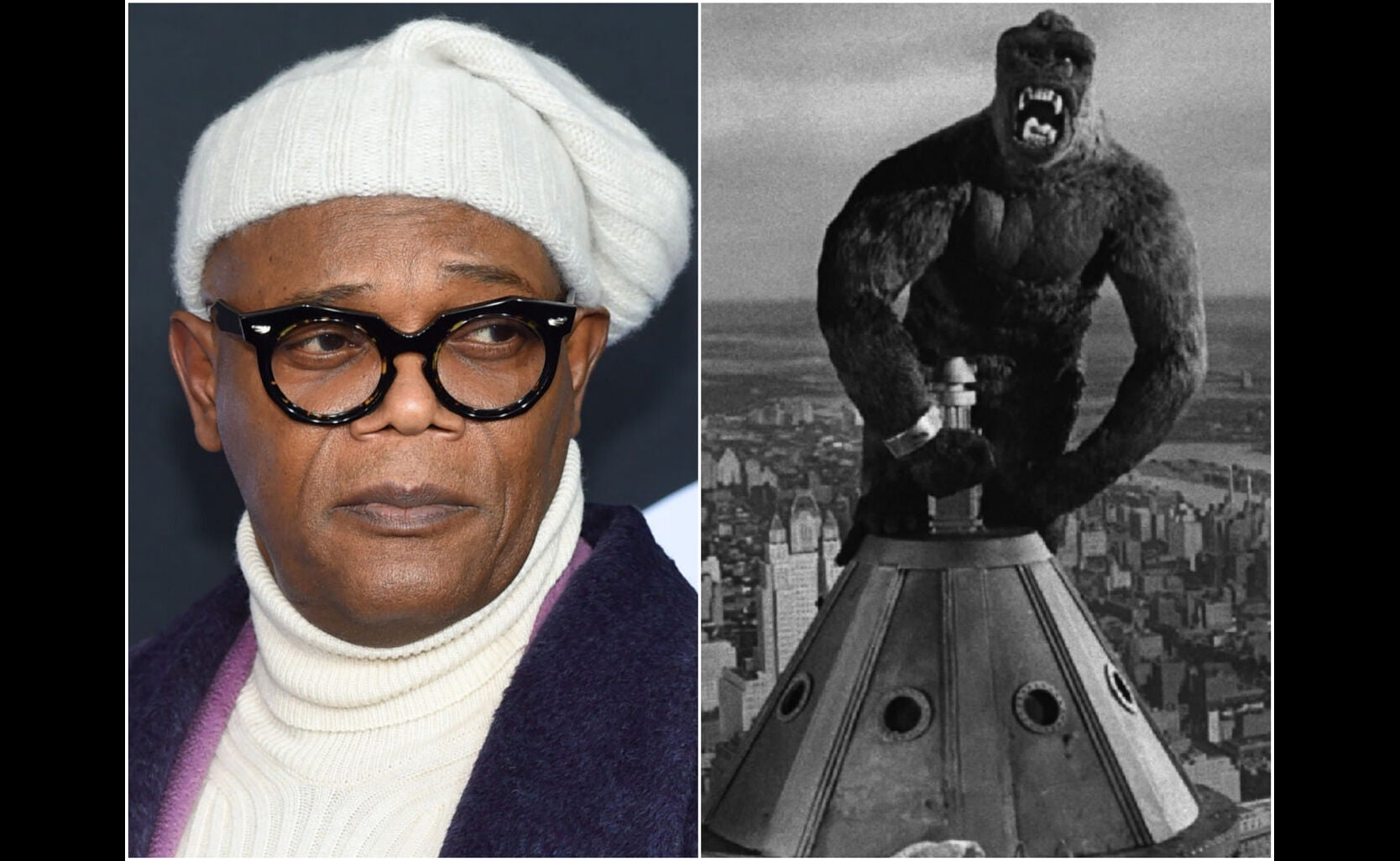 """Samuel L. Jackson and a scene from """"King Kong"""" 1933"""