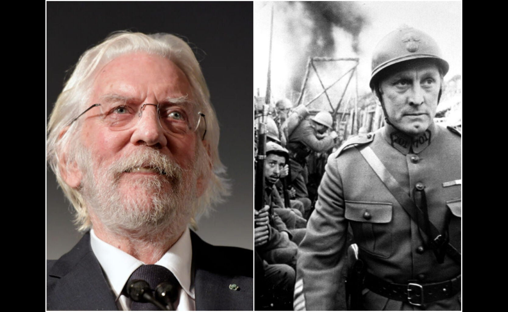 "Donald Sutherland and a scene from ""Pats of Glory"""