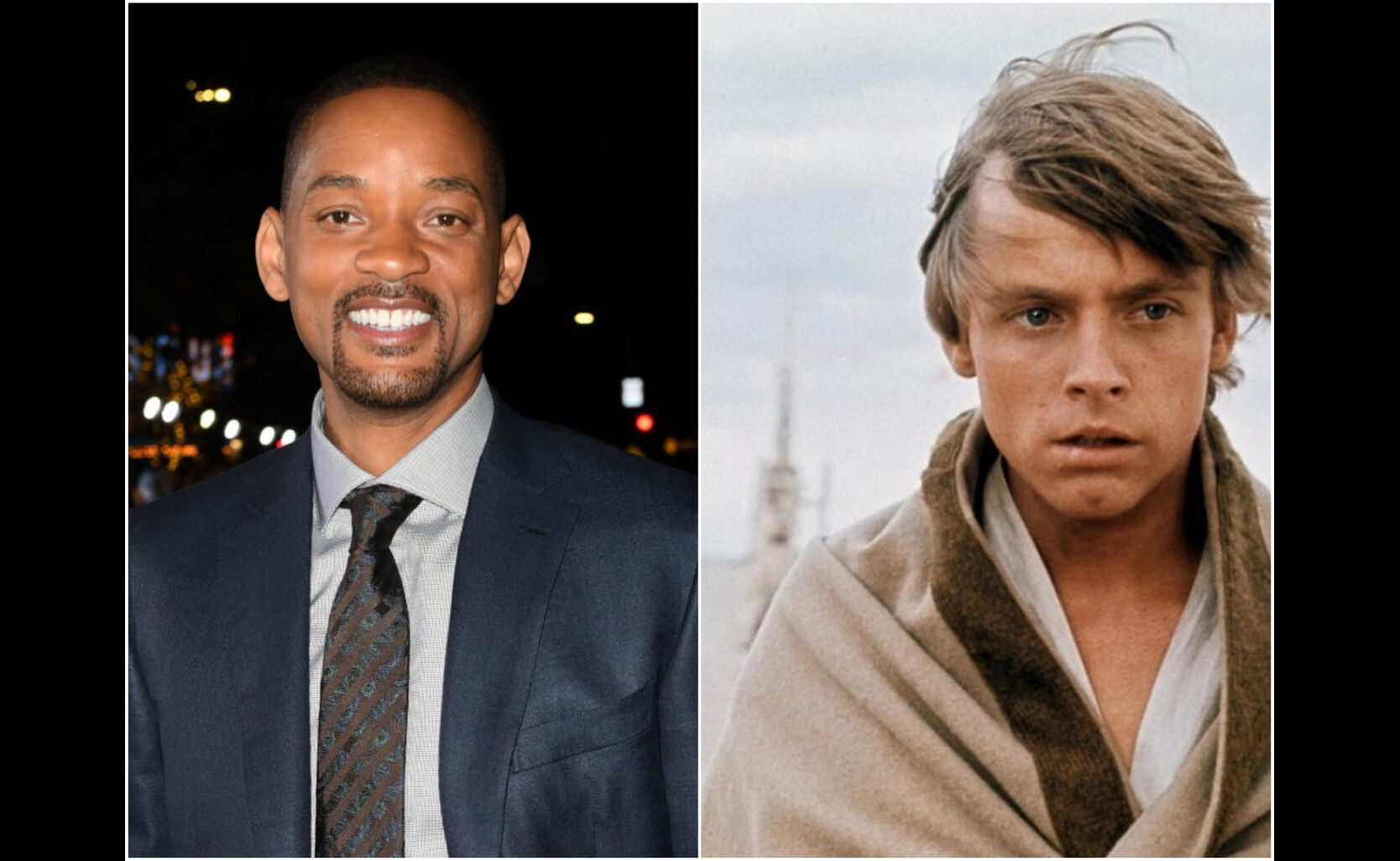 """Actor Will Smith, Golden Globe nominee, and a scene from """"Star Wars"""", 1977"""