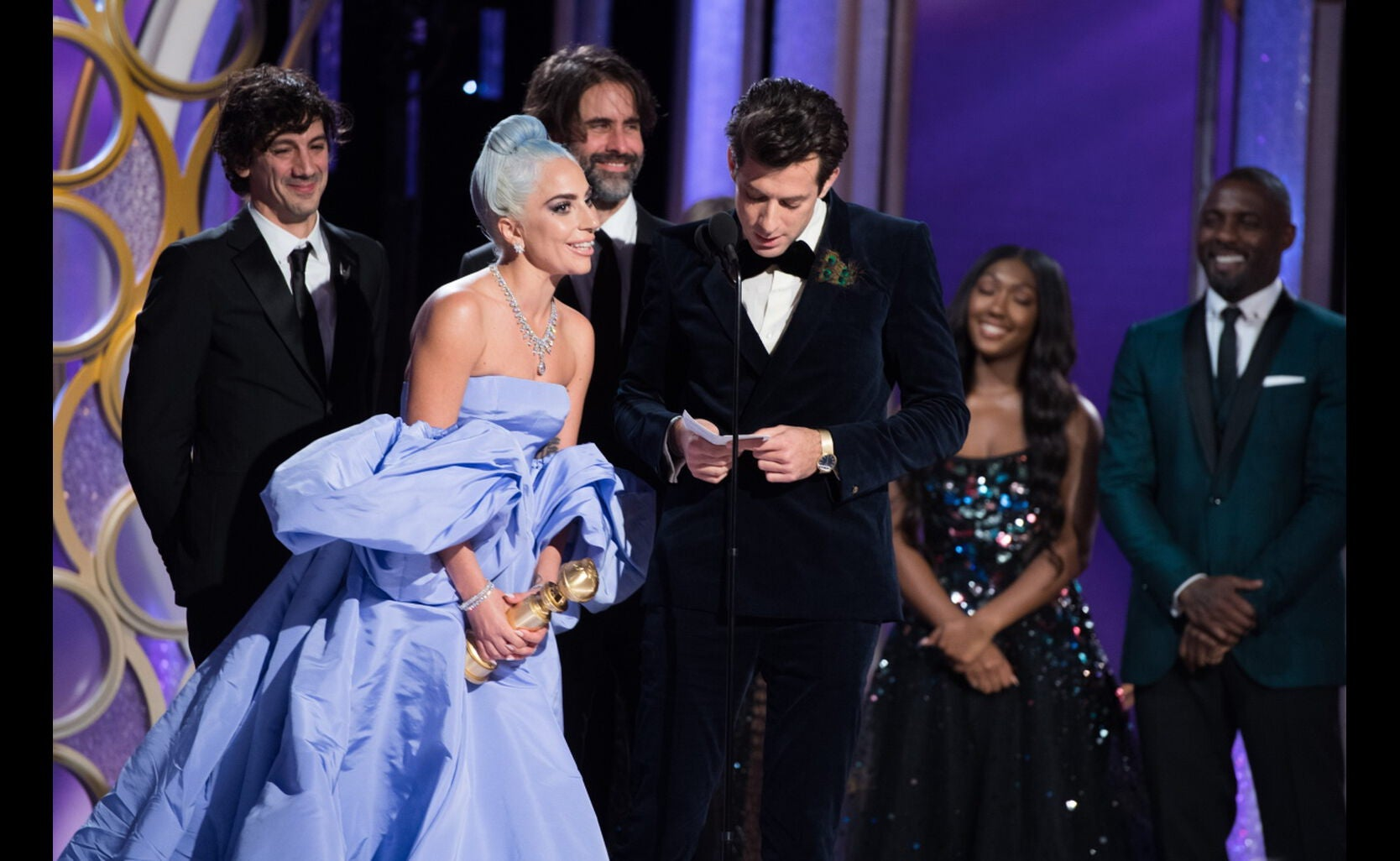"""Lady Gaga and Mark Ronson accept the Golden Globe for BEST ORIGINAL SONG – MOTION PICTURE for """"Shallow"""" from """"A Star Is Born"""""""